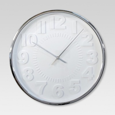 Raised Number 16  Wall Clock White/Silver - Project 62™
