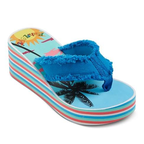 Girl's FishFLOPS® Ginger Wedge Flip Flop Sandals - Blue XL - image 1 of 3