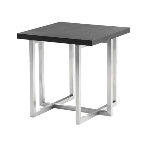 Armen Living Topaz Contemporary End Table In Brushed Stainless Gray - image 1 of 2