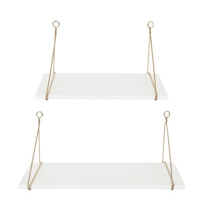 Decorative Wall Shelf Set of 2 - White/Gold