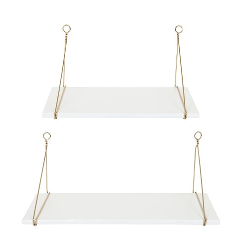 """24"""" x 9.8"""" 2pc Vista Wood and Metal Shelf Set White/Gold - Kate & Laurel All Things Home - image 1 of 3"""