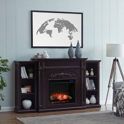 Canterbury Touch Panel Electric Fireplace with Bookcases - Aiden Lane