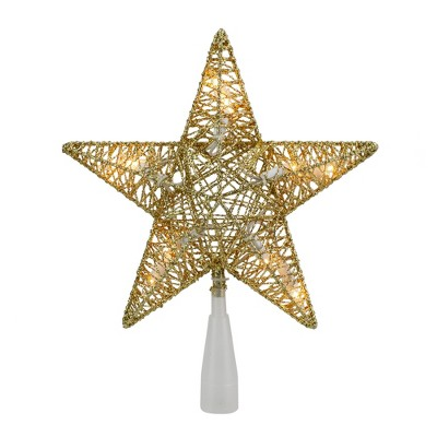 "Northlight 9.5"" Lighted 5 Point Gold Wire Star Christmas Tree Topper - Clear Lights"