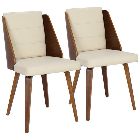 Galanti Mid Century Mofern Dining Accent Chair Walnut Cream (Set of 2) - Lumisource - image 1 of 4