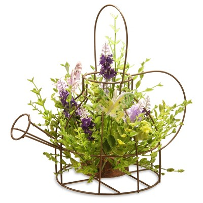 Artificial Lavender Flowers in Kettle Frame Purple 11.5  - National Tree Company®