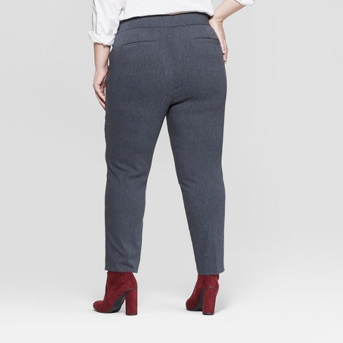aecbd3927f9 Women s Plus Size Pull-On Skinny Ankle Pants - Ava   Viv™ Heather Gray X    Target