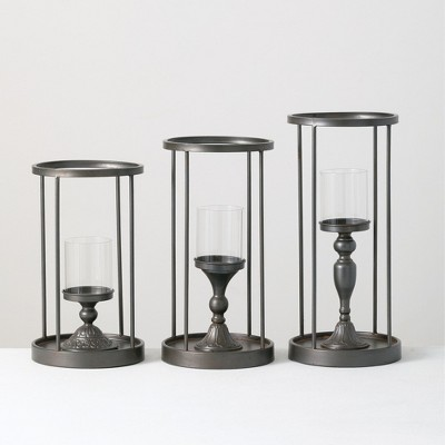 """Sullivans Set of 3 Candle Holders 20""""H, 18""""H, 16""""H & 4.5""""H Gray"""