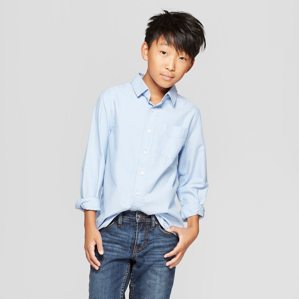 Image of Boys' Long Sleeve Button-Down Shirt - Cat & Jack Blue XXL, Boy's