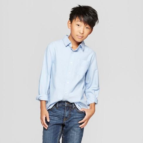 d4591d2ceb Boys  Long Sleeve Button-Down Shirt - Cat   Jack™ Blue   Target