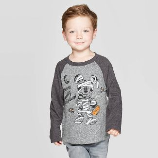 Toddler Boys' Mickey Mouse Mummy Halloween Long Sleeve T-Shirt - Gray 3T