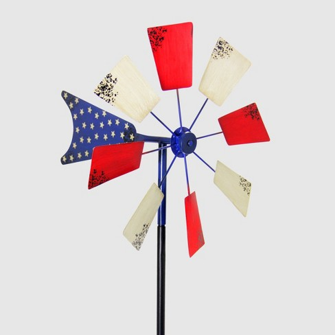"78"" Resin Kinetic Patriotic Windmill Garden Stake White/Red - Exhart - image 1 of 1"