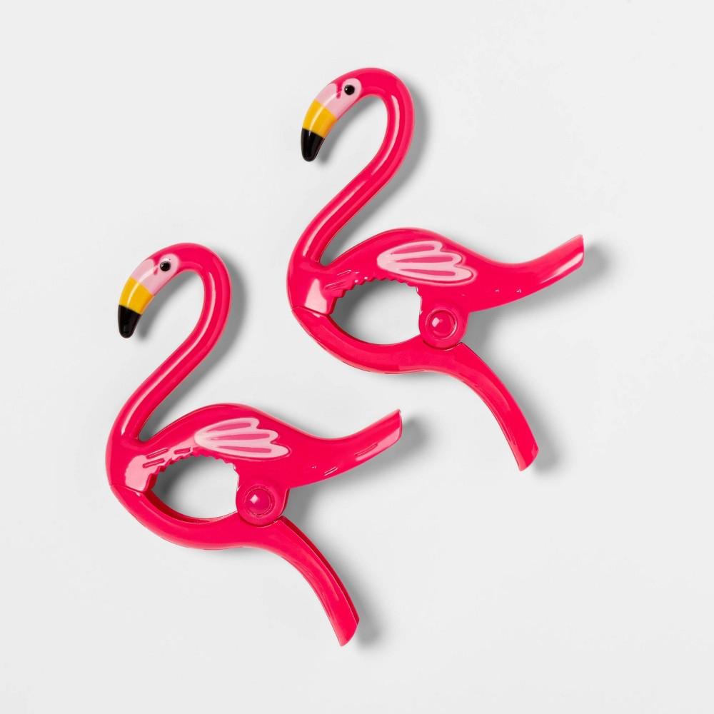 Image of 2pk Flamingo Beach Towel Clips - Sun Squad