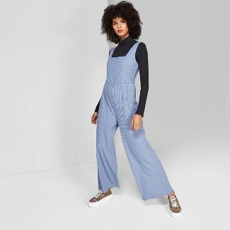 Women's Sleeveless Square Neck Rib Knit Jumpsuit - Wild Fable™ Verona Blue S