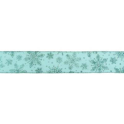 "Northlight Sparkly Aqua Blue Snowflake Christmas Wired Craft Ribbon 2.5"" x 16 Yards"