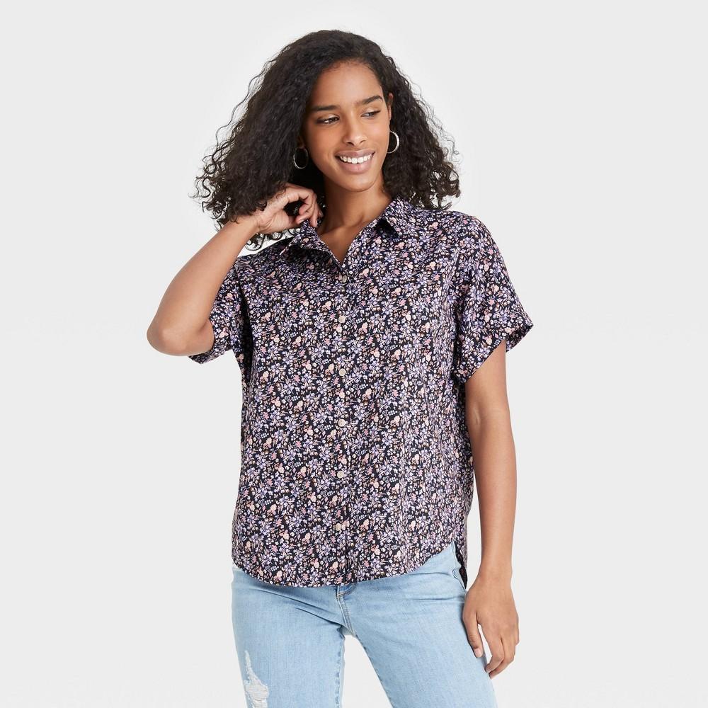 Women 39 S Floral Print Dolman Short Sleeve Button Down Shirt Universal Thread 8482 Navy M