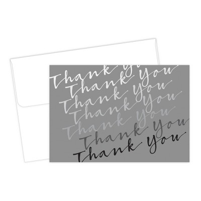 Great Papers! Silver Cursive Thank You Card