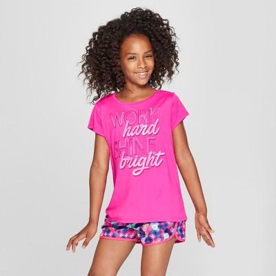 Girls' Work Hard Shine Bright Graphic Tech T-Shirt - C9 Champion® Fuschia Pink L