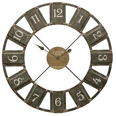 36  Industrial Galvanized Wall Clock - StyleCraft