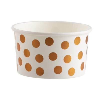 Juvale 50-Pack 8oz Disposable Paper Ice Cream Cup Dessert Bowls Treat Cups, Rose Gold White Foil Polka Dots