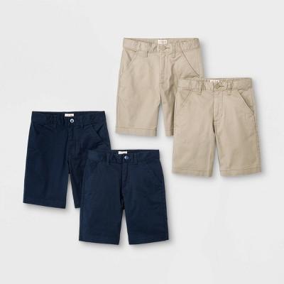Boys' 4pk Flat Front Stretch Uniform Shorts - Cat & Jack™ Khaki/Navy