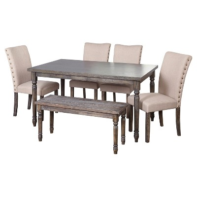 6 Piece Burntwood Parson Dining Set With Bench - Weathered Gray - Target Marketing Systems