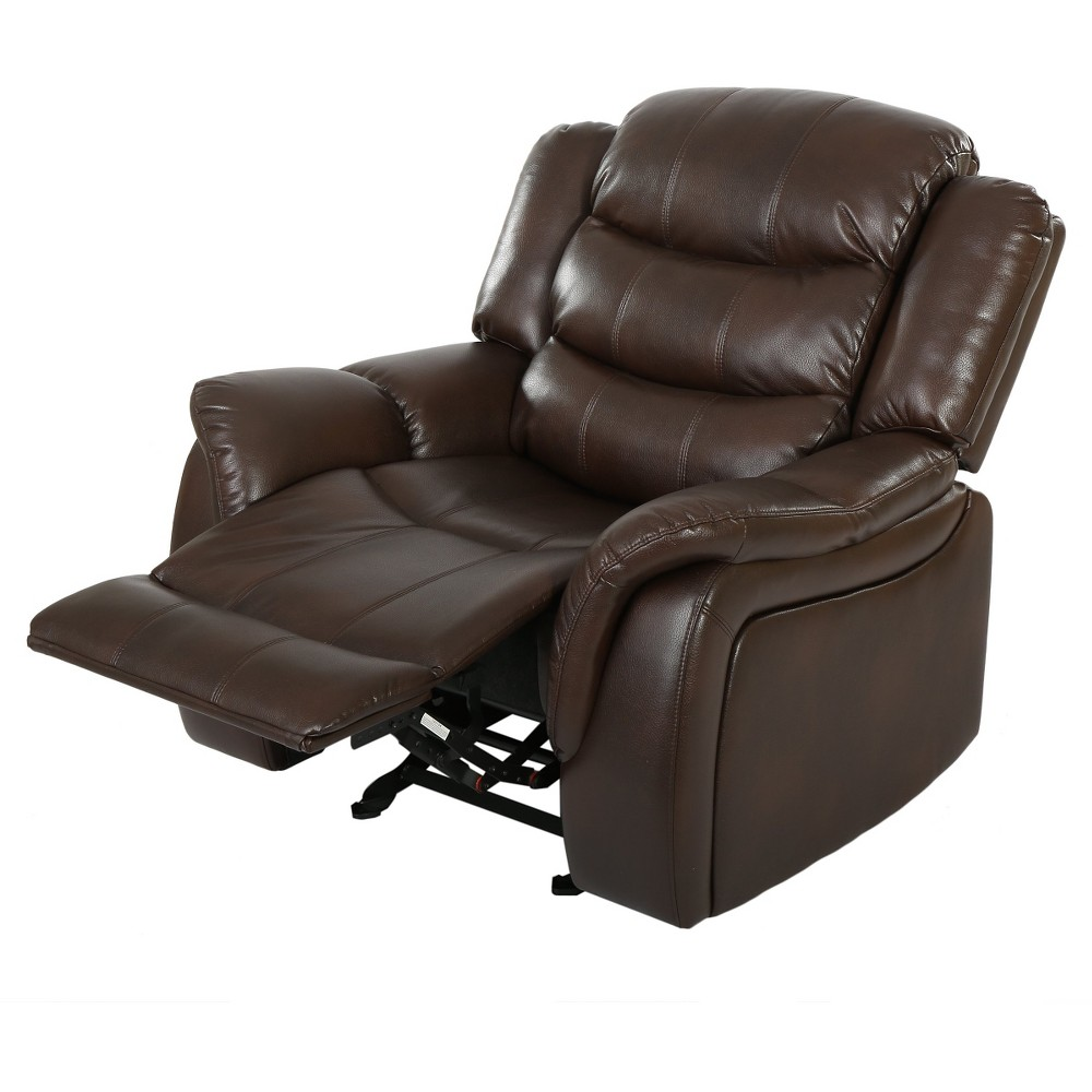Hawthorne Faux Leather Glider Recliner Club Chair - Christopher Knight Home, Dark Brown