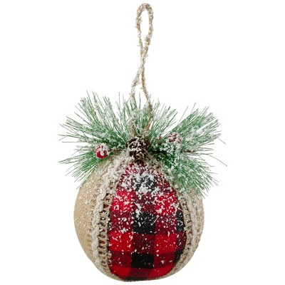 """Northlight Set of 4 Red and Black Burlap and Plaid Christmas Ball Ornaments 6"""" (152mm)"""