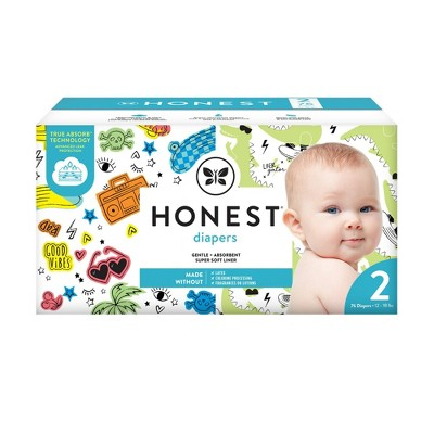 The Honest Company Good Vibes & L8ter Gator Disposable Diapers - Size 2 - 76ct
