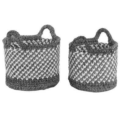 "Olivia & May 14.5""x12""x12""x11"" Set of 2 Large Round Checkered Mesh with Cotton Rope Storage Baskets White/Black"
