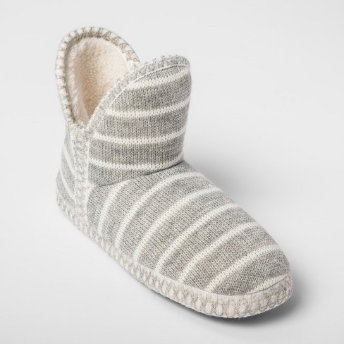 Women's Striped Bootie Slippers - Gilligan & O'Malley™ Gray - image 1 of 4
