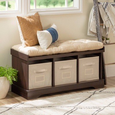 """42"""" Wood Storage Bench With Totes And Cushion - Saracina Home : Target"""