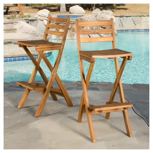Tundra Set Of 2 Acacia Wood Folding Patio Bar Chair Natural Christopher Knight Home Target