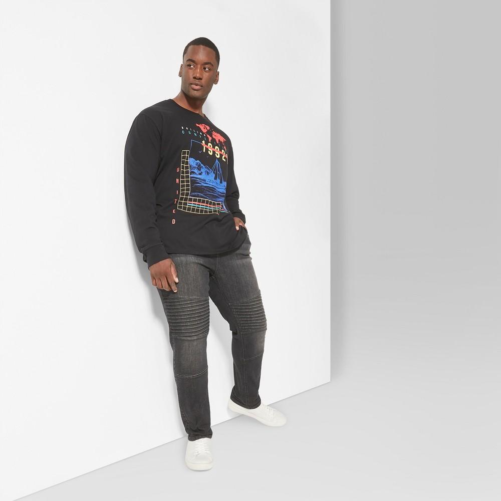 Men's Big & Tall Long Sleeve Crew Graphic T-Shirt - Original Use Oceanique 3XBT, Blue