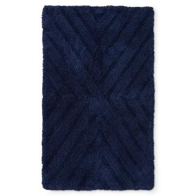 """38""""x23"""" Textured Stripe Bath Rug Navy Blue - Project 62™ + Nate Berkus™"""