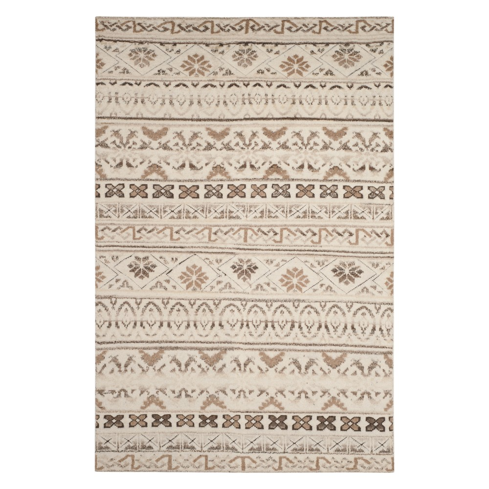 6'X9' Tribal Design Knotted Area Rug Natural - Safavieh, White