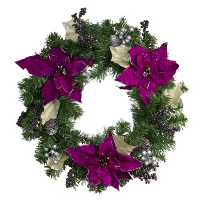 "Northlight 24"" Unlit Purple Poinsettia and Silver Pinecone Two-Tone Pine Christmas Wreath"