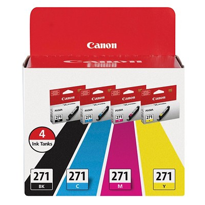 Canon 270/271 Single & 4pk Ink Cartridges - Black, Multicolor