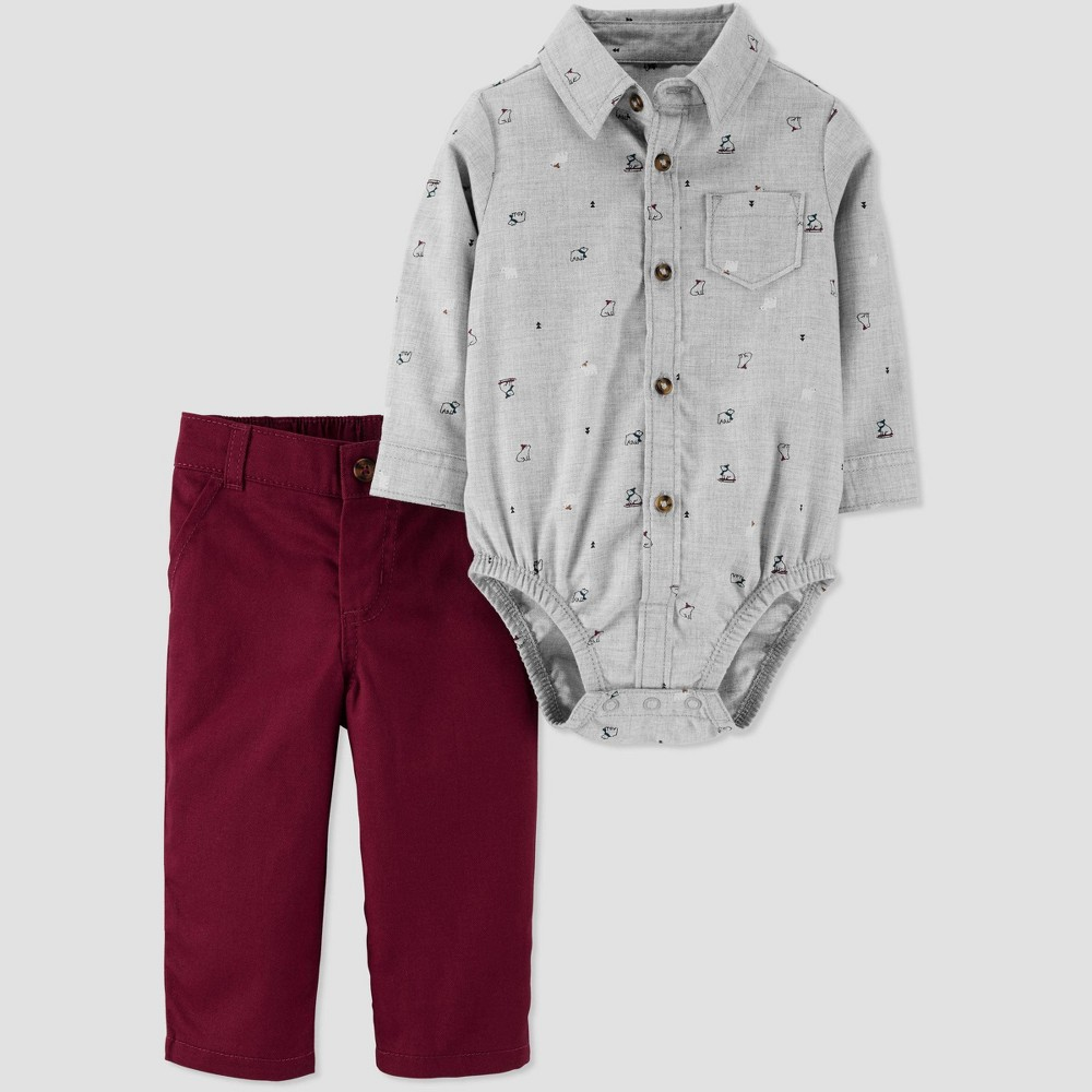 Image of Baby Boys' 2pc All Over Print Top & Bottom Set - Just One You made by carter's Maroon/Gray 12M, Boy's, Gray/Red