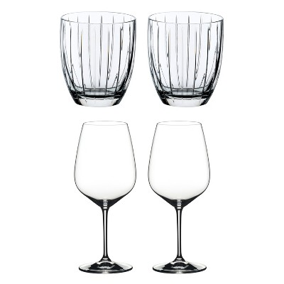 Riedel Sunshine Collection Crystal Whiskey Tumbler Glass and Heart to Heart Crystal Dishwasher Safe Cabernet Red Wine Glass, Set of 4
