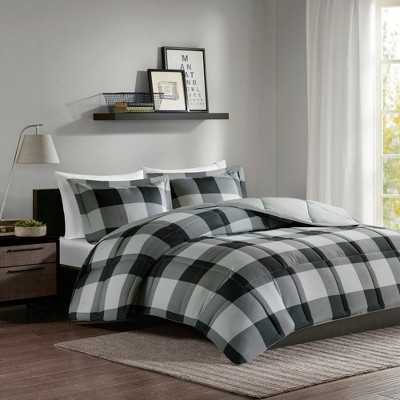 Gray/Black Brooks 3M Scotchgard Down Alt Comforter Mini Set King/California King