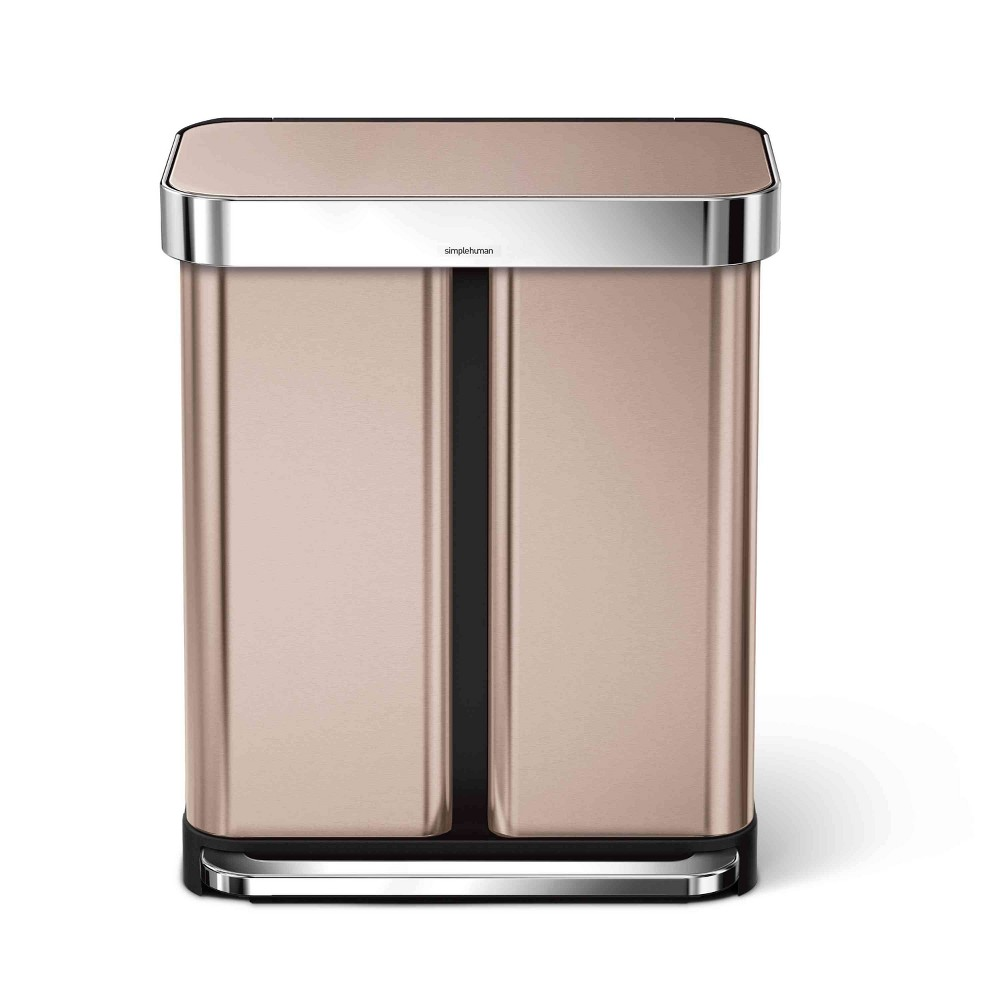 Image of simplehuman 58 ltr Dual Compartment Rectangular Step Trash Can Rose Gold/Stainless Steel