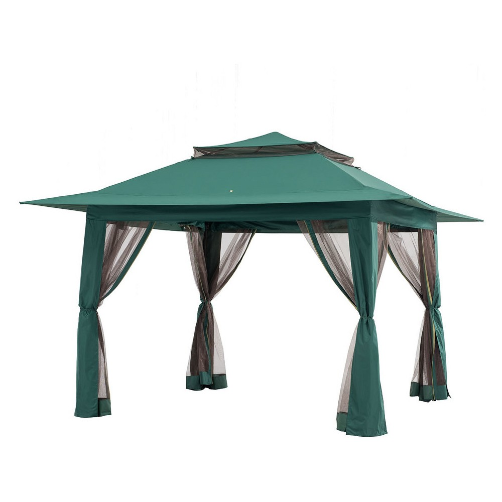 13'x13' Pop-Up Canopy with Carrying Bag Green - Sunjoy