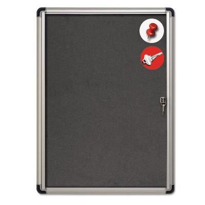 MasterVision Slim-Line Enclosed Fabric Bulletin Board 28 x 38 Aluminum Case VT630103690