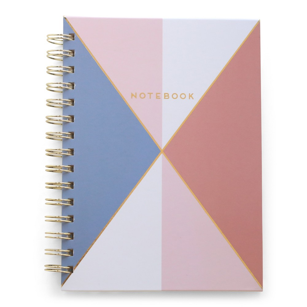 "Image of ""Twin Wire Journal 5.8"""" x 8"""" Blue & Pink Triangles - DesignWorks Ink"""