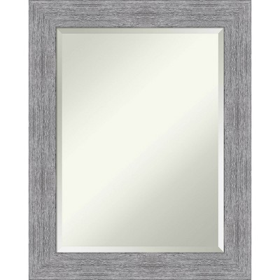 Bark Rustic Framed Bathroom Vanity Wall Mirror Gray - Amanti Art