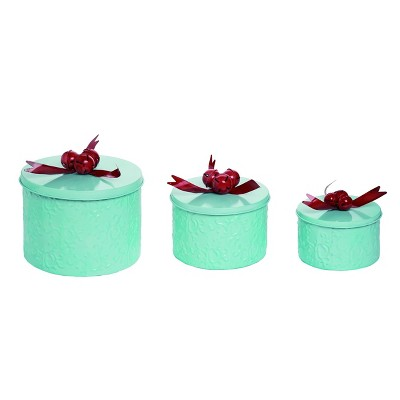 Transpac Metal 9 in. White Christmas Nostalgic Bell Containers Set of 3