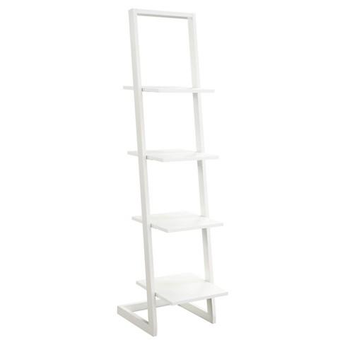 66 25 4 Tier Ladder Bookshelf White Convenience Concepts