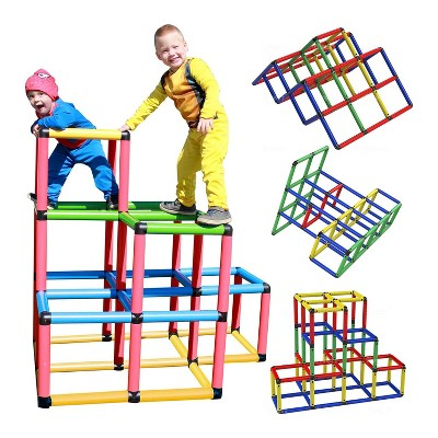 Funphix Climbing Gym Jungle Construction Buildable Indoor Outdoor Kids STEM Learning Toy Set Play Structure for Ages 2 through 12 Years, Multicolor