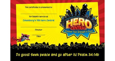 Vacation Bible School 2017 Vbs Hero Central Leader Recognition Certificates : Discover Your Strength in - image 1 of 1