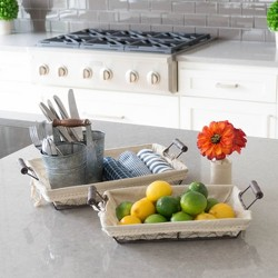 Rectangular Wire Baskets with Fabric Off-White 2pk - Stonebriar